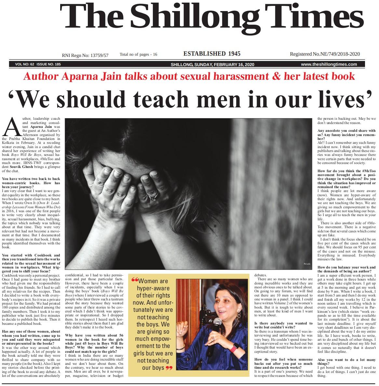 16 Feb 2020 Shillong Times AAA Aparna Jain